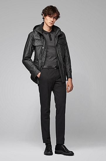 男士黑色全棉长袖POLO衫,  001_黑色