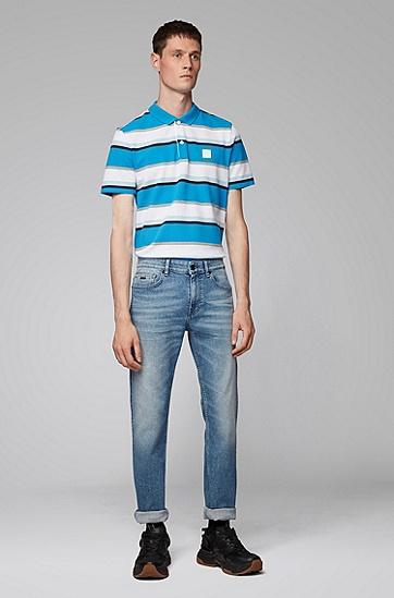 男士商务休闲蓝白条纹全棉polo衫,  434_亮蓝色