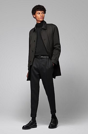 中长款翻领休闲外套风衣,  001_黑色