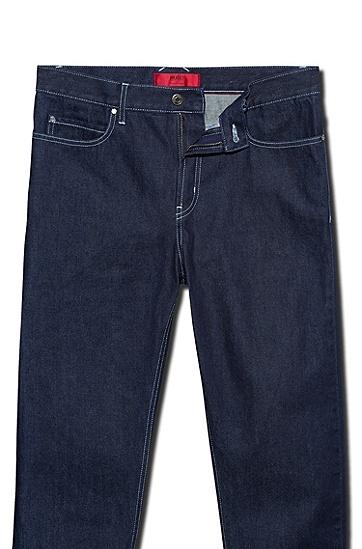 男士休闲高腰牛仔裤,  401_暗蓝色