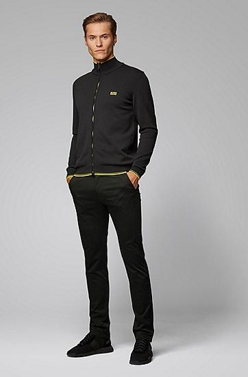 罗纹撞色拉链式修身外套卫衣,  002_黑色