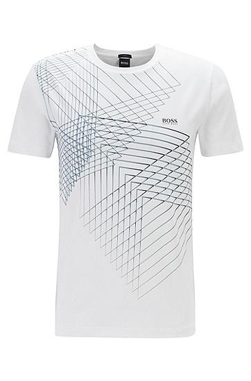 3D印花舒适弹力圆领短袖T恤,  100_白色