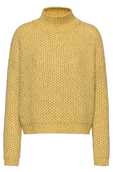 女士复古粗针蜂孔羊毛针织衫毛衣,  734_亮黄色