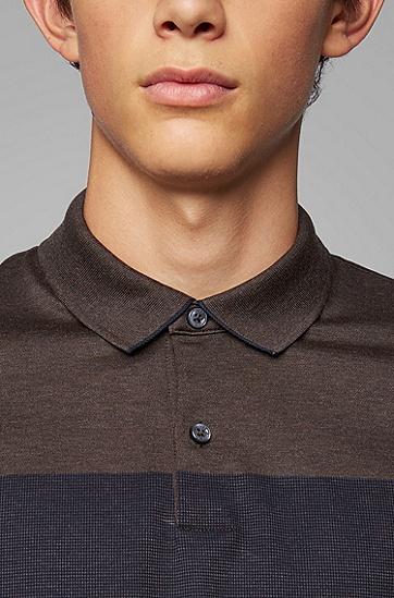 男士商务休闲拼接纯棉长袖POLO衫,  202_暗棕色