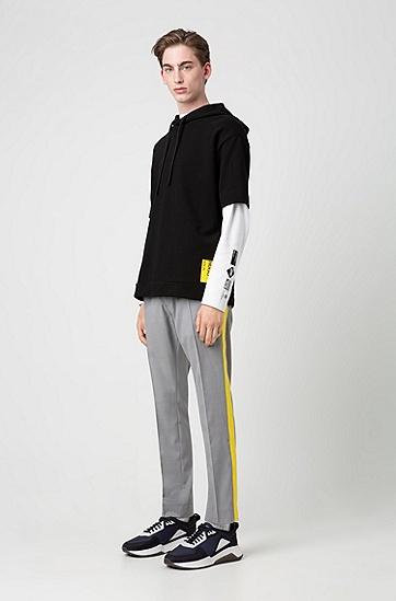 男士后背印花纯棉短袖连帽卫衣,  001_黑色