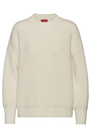 女士純色寬松圓領套頭羊毛衫,  102_天然色