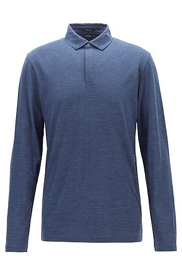 男士纯羊毛翻领纯色打底衫polo衫,  465_淡蓝色