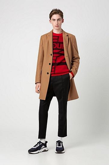 男士撞色潮流圆领套头羊毛针织衫,  693_淡粉色