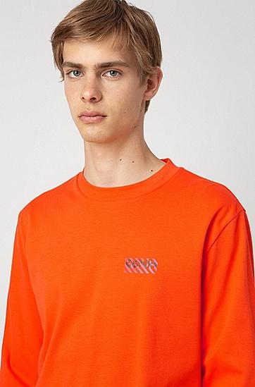 男士休闲圆领长袖卫衣,  821_亮橙色