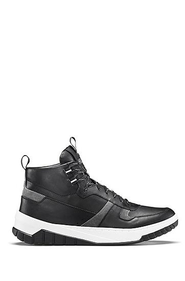 男士时尚潮流运动休闲牛皮高帮鞋,  001_黑色