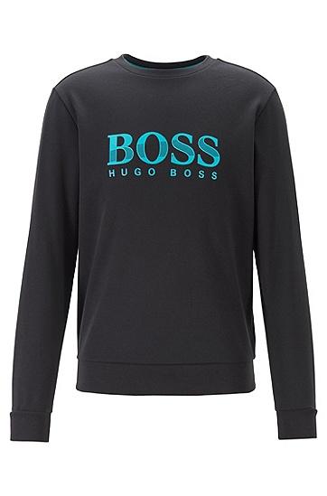 LOGO印花新款圆领运动套头衫卫衣,  001_黑色