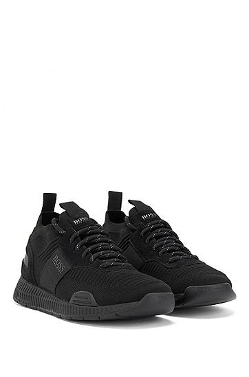 男士黑色跑步鞋网面透气休闲运动鞋,  001_黑色