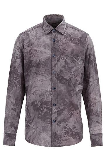 商务休闲口袋纯棉长袖衬衫,  404_暗蓝色