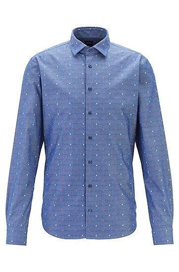 商务时尚印花纯棉长袖衬衫,  405_暗蓝色
