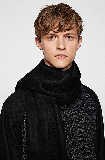 商务休闲纯色简约羊绒男士围巾,  001_黑色