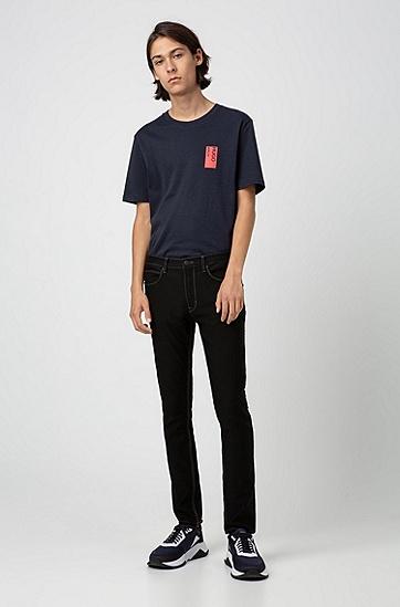 男士通勤黑色修身长裤牛仔裤,  001_黑色