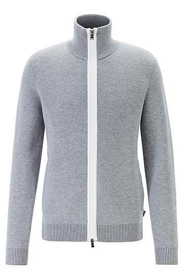 高领拉链开衫羊毛针织衫,  041_银灰色