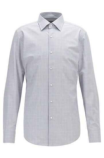 复古格纹纯棉长袖衬衫,  030_中灰色