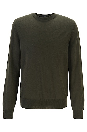羊毛圆领修身打底毛衣针织衫,  342_淡绿色