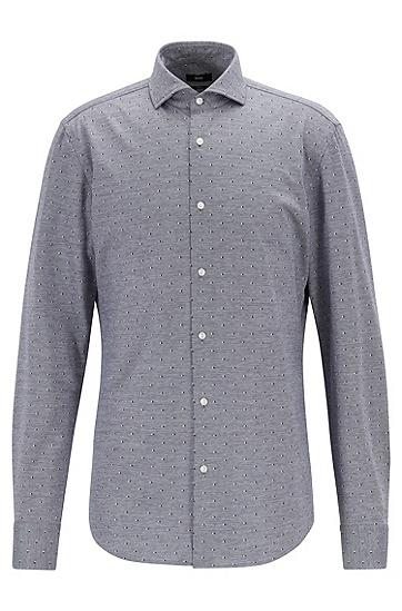 复古印花通勤纯棉长袖衬衫,  417_海军蓝色
