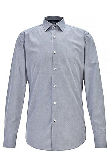 商务时尚小波点纯棉长袖衬衫,  404_暗蓝色