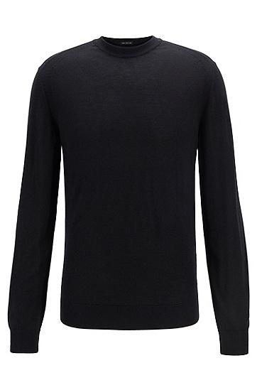 纯色圆领套头羊毛针织衫,  001_黑色