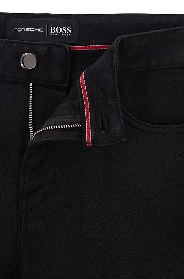 Porsche联名款时尚长裤牛仔裤,  001_黑色