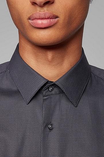 商务绅士波点印花长袖衬衫,  002_黑色
