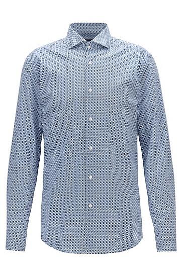 飞机印花纹理休闲长袖衬衫,  450_浅蓝色