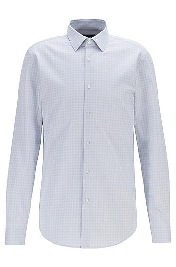 时尚休闲格子印花长袖衬衫,  100_白色