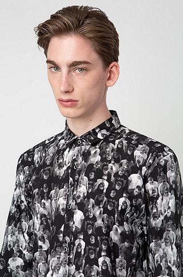 人物影像图案纯棉长袖衬衫,  001_黑色