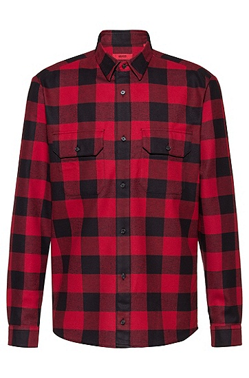 休闲大方格纯棉长袖衬衫,  693_淡粉色
