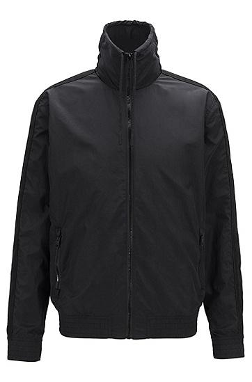 纯色休闲短款高领夹克外套,  001_黑色