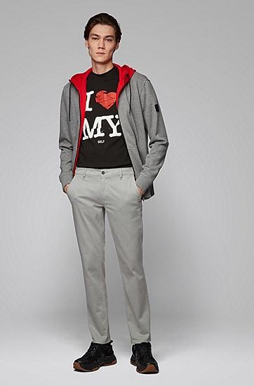男士款潮流时尚字母印花圆领棉T恤短袖,  001_黑色