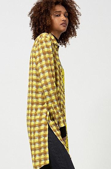 女士时尚格纹碎花拼接衬衫,  977_多色