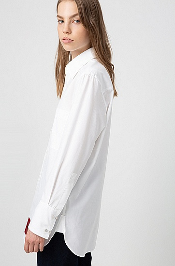 女士休闲宽松长款纯棉白衬衫,  100_白色