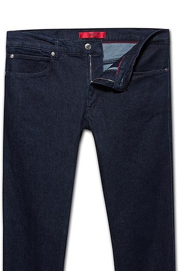 时尚潮流直筒修身牛仔裤,  401_暗蓝色