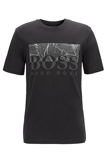 男士双色时尚印花纯棉圆领短袖T恤,  003_黑色