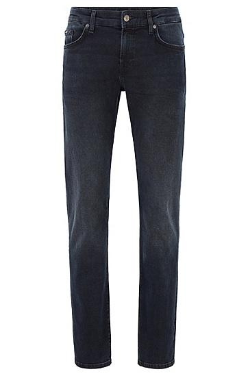 男士深色直筒修身水洗棉微弹牛仔裤,  420_中蓝色