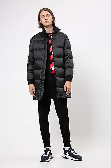 男士不对称LOGO印花套头卫衣,  001_黑色