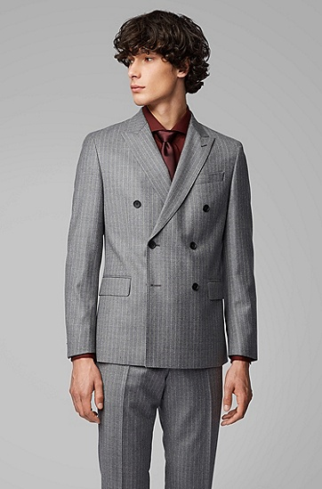 灰色竖条纹羊毛西服套装,  030_中灰色