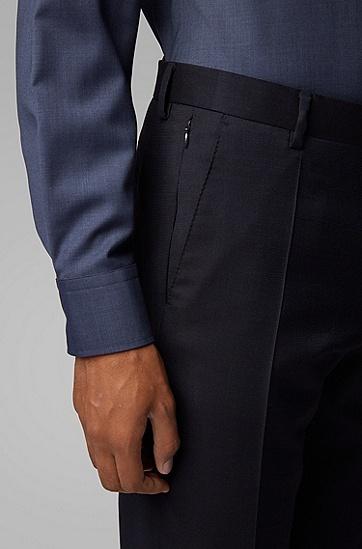 男士职业商务直筒修身长裤西裤,  402_暗蓝色