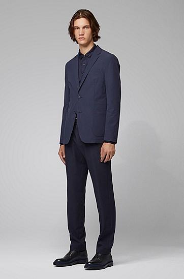 藏青色大口袋直筒西服外套,  402_暗蓝色