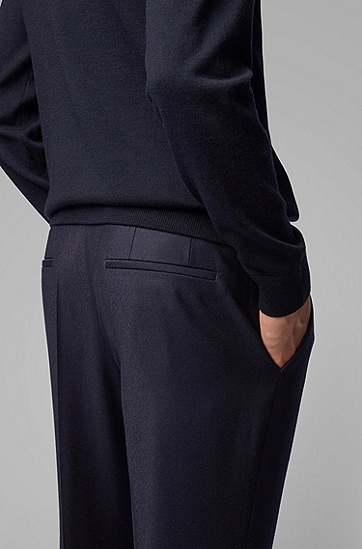 男士职业商务修身直筒西裤长裤,  402_暗蓝色