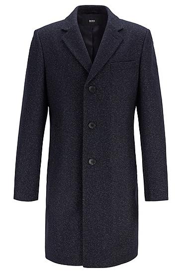 经典长款单排扣羊毛大衣,  402_暗蓝色