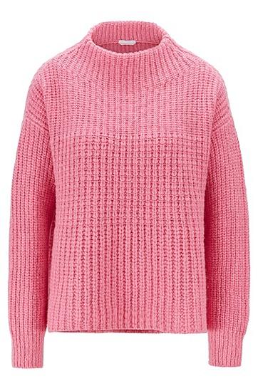 宽松半高领粗针羊驼毛针织衫,  685_浅粉色