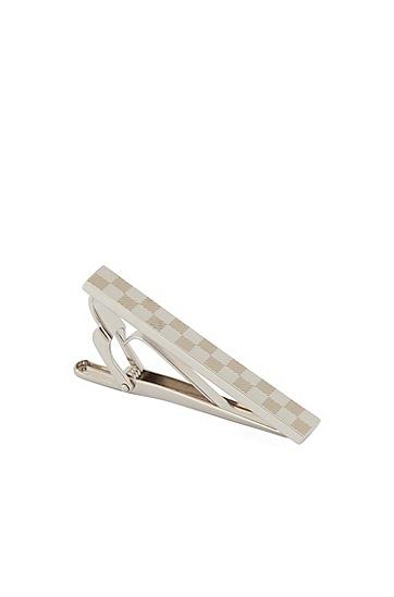 商务银色方格男士领带夹子,  040_银灰色