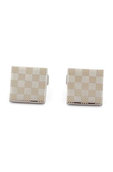 商务休闲格子气质袖口袖扣,  040_银灰色