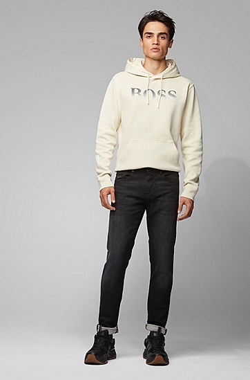 合体直筒复古长裤水洗牛仔裤,  003_黑色