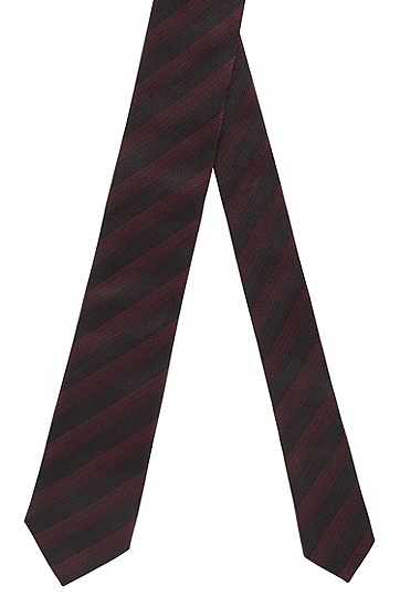 男士复古时尚提花条纹桑蚕丝领带,  604_暗红色